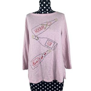 Talbots Hooray For Rose Size Large Pink tee